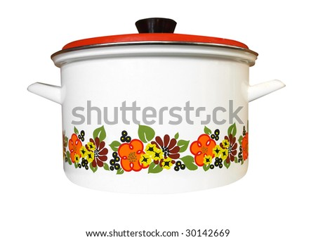 Enamel Pot isolated with clipping path - stock photo