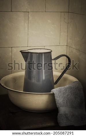 Simple Rustic Retro Bathroom Scene Enamel Stock Photo