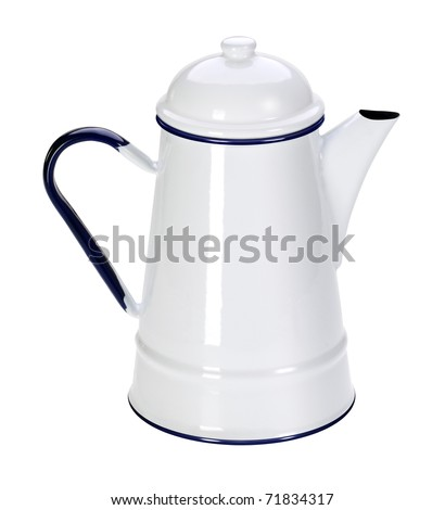 Enameled jug: old-style, and is still used in kitchen accessories. Serving for milk, or other breakfast beverages.