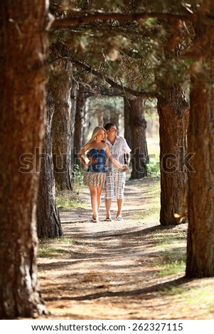 Enamoured guy and the girl walk in wood. Young men, in the summer, in pine wood. A sunny day.