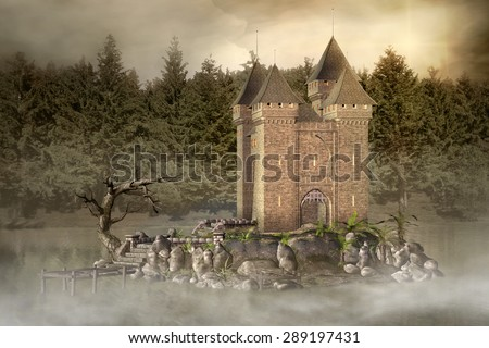 Enchanted castle in the middle of the lake - stock photo