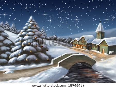 Enchanted Christmas landscape. Digital illustration. - stock photo