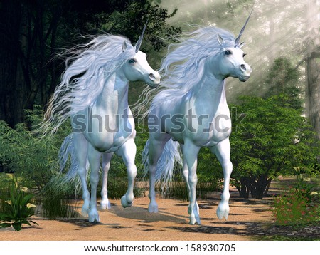 Enchanted Forest - Two buck unicorns run together through a beautiful magical forest. - stock photo