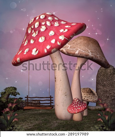 Enchanted mushrooms and swing - stock photo