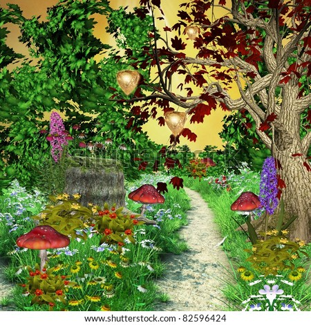 Enchanted nature series - enchanted pathway in the middle of the forest - stock photo