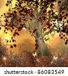 Enchanted nature series - fabulous sunset - stock vector