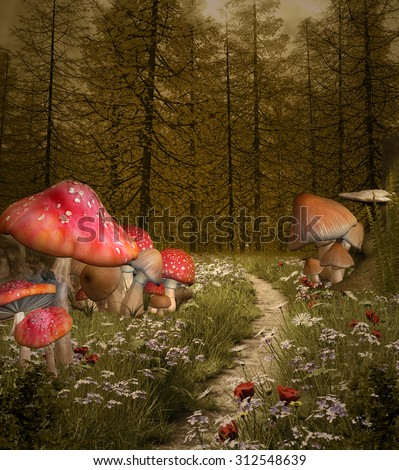 Enchanted nature series - Forest enchanted pathway - stock photo