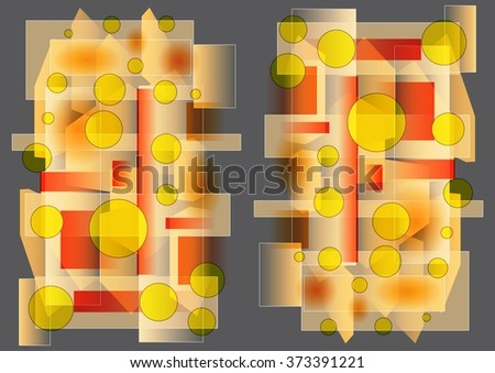 Enchanting  delicate  unique  colorful   modern   geometric  and floral  abstract design superimposed  on a  plain grey   background ideal for stunning  wallpapers  and chic backgrounds. - stock photo