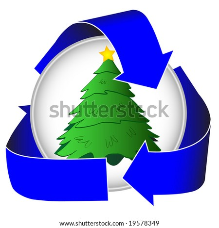 Encourage people to recycle their christmas trees with this simple pictogram icon. Perfect for municipal, city and rural tree drops. - stock photo