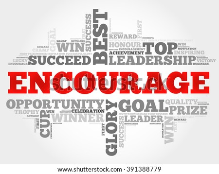 Encourage word cloud, business concept - stock photo