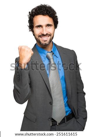 Encouraging businessman isolated on white - stock photo