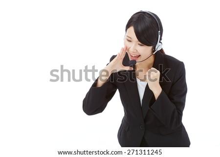 encouraging operator - stock photo