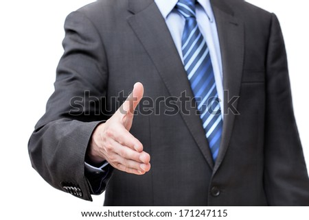 Encouraging to business cooperation, isolated white background - stock photo