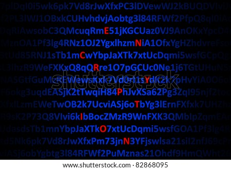 Encryption concept - red decrypted letters in middle of digital code - stock photo
