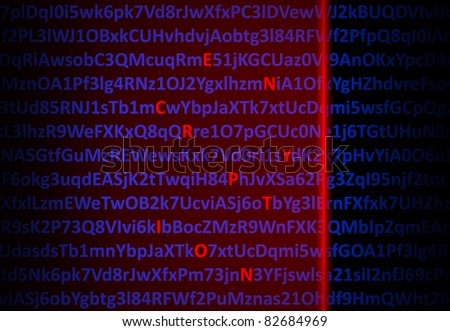 Encryption concept - red laser decrypting letters in middle of digital code - stock photo