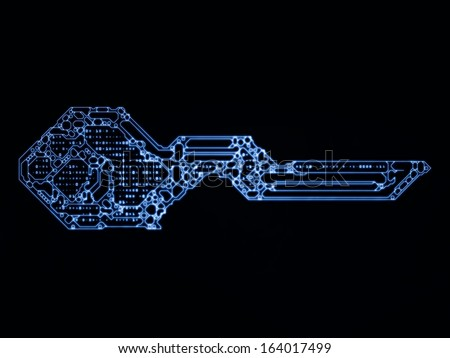 Encryption Key series. Interplay of stylized key and number symbols on the subject of encryption, mathematics and digital technologies - stock photo