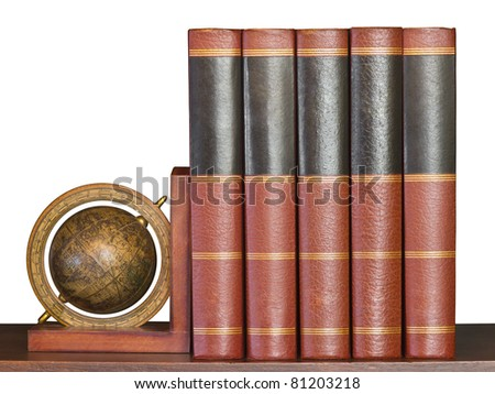 Encyclopedia books with globe support on wooden shelf isolated on white
