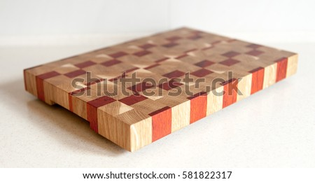 end grain cutting board on table stock photo royalty free