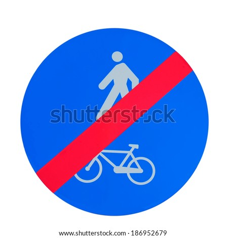 end of bike and pedestrian lane sign isolated on white background