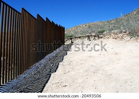 End of border fence between the US and Mexico a few miles west of the border crossing in Sasabe, Arizona - stock photo