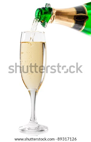 End of filling a champagne glass