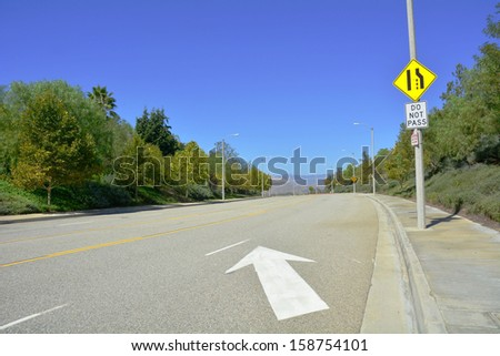 End of road, lane ends, merge - stock photo