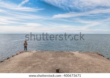 End of the pier - stock photo