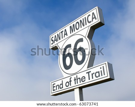 End of the trail sign in Santa Monica, route 66 - stock photo