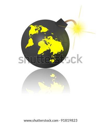 End of the world. Bomb with earth map - stock photo