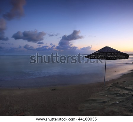 End of vacations season in Iskenderun, Turkey. Beautiful wiew of dusk with nice clouds on horizont. - stock photo