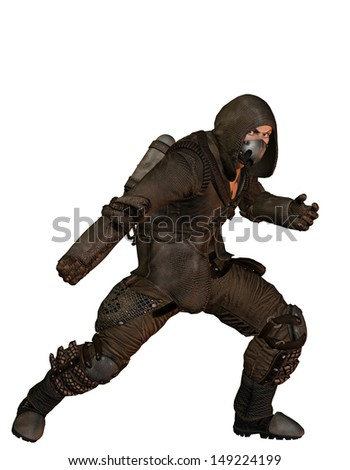 End time warrior standing in combative attitude - stock photo