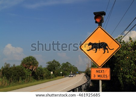 Endangered Florida Panther crossing sign in Collier Seminole State Park in the Florida Everglades