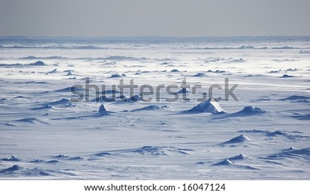 Endless Antarctic snowfields - stock photo
