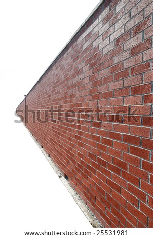 endless brick wall over white
