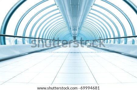 endless commercial corridor in business center - stock photo