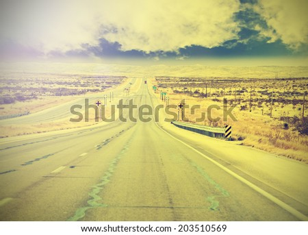 Endless country highway, vintage retro effect. - stock photo