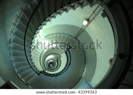 Endless Lighthouse Spiral Staircase - stock photo