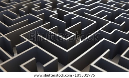 Endless maze concept of discovery, confusion and challenges - stock photo