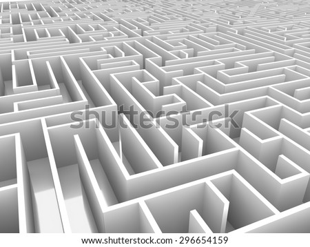 endless maze 3d illustration - stock photo