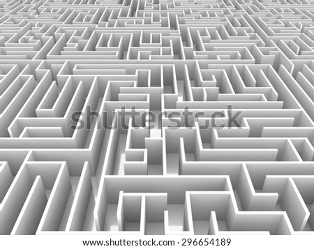 endless maze 3d illustration - stock photo