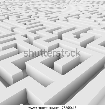 Endless maze 3D render. - stock photo