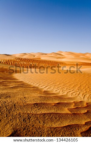 Endless patterns in the Rub-al-Khali Desert (Empty Quarter) in the Middle East, spanning Abu Dhabi, Oman, Saudi Arabia and Yemen. - stock photo