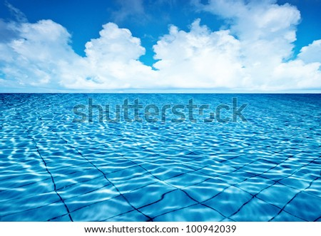 Endless pool water with blue sky background, fresh natural landscape, rippled texture and pattern, swimming pool seamless surface, summer travel vacation and spa leisure concept