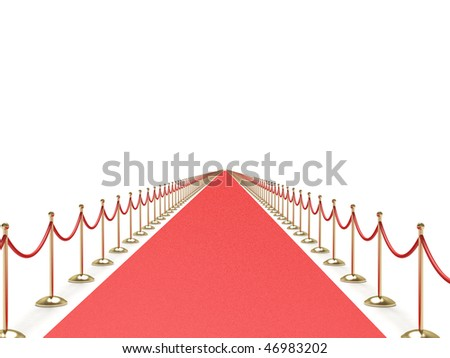 Endless red carpet - stock photo