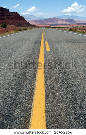 Endless road in the Monument Valley, Arizona, U.S.A.