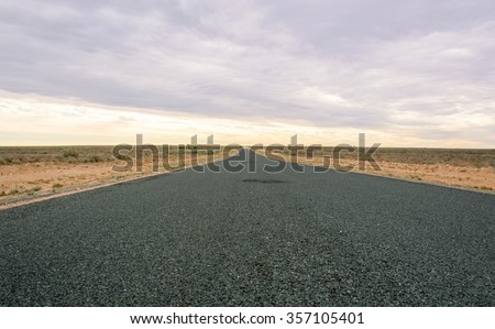 Endless road into the desert