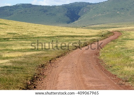 Endless road surrounded by green land. Ngorongoro Conservation Area, Tanzania