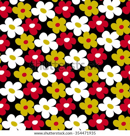 Endless simple fun floral pattern. Seamless texture - stock photo