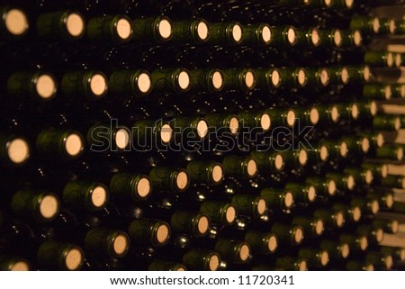endless stack of wine bottles - stock photo
