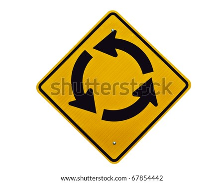 Endless traffic circle loop caution sign.